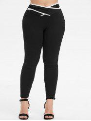 Plus Size Stripe Trim Criss Cross Tight Pants -