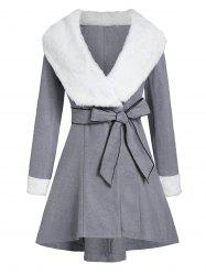 Hooded Faux Fur Panel Contrast Coat with Belt -