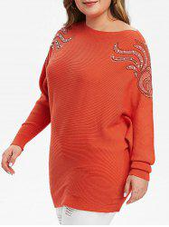 Plus Size manches Batwing strass obliquité Pull col - Orange M