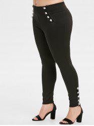 Plus Size High Rise Buttoned Skinny Pants -
