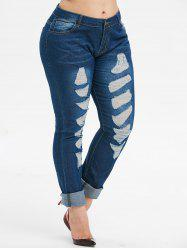 Mid Rise Destroyed Skinny Plus Size Jeans -