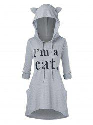 Plus Size Cat Ear Roll Up Sleeve High Low Graphic Hoodie -