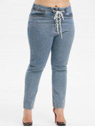 Plus Size High Waisted Lace Up Jeans -