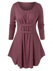 Plus Size Marled Tunic Round Collar T Shirt -