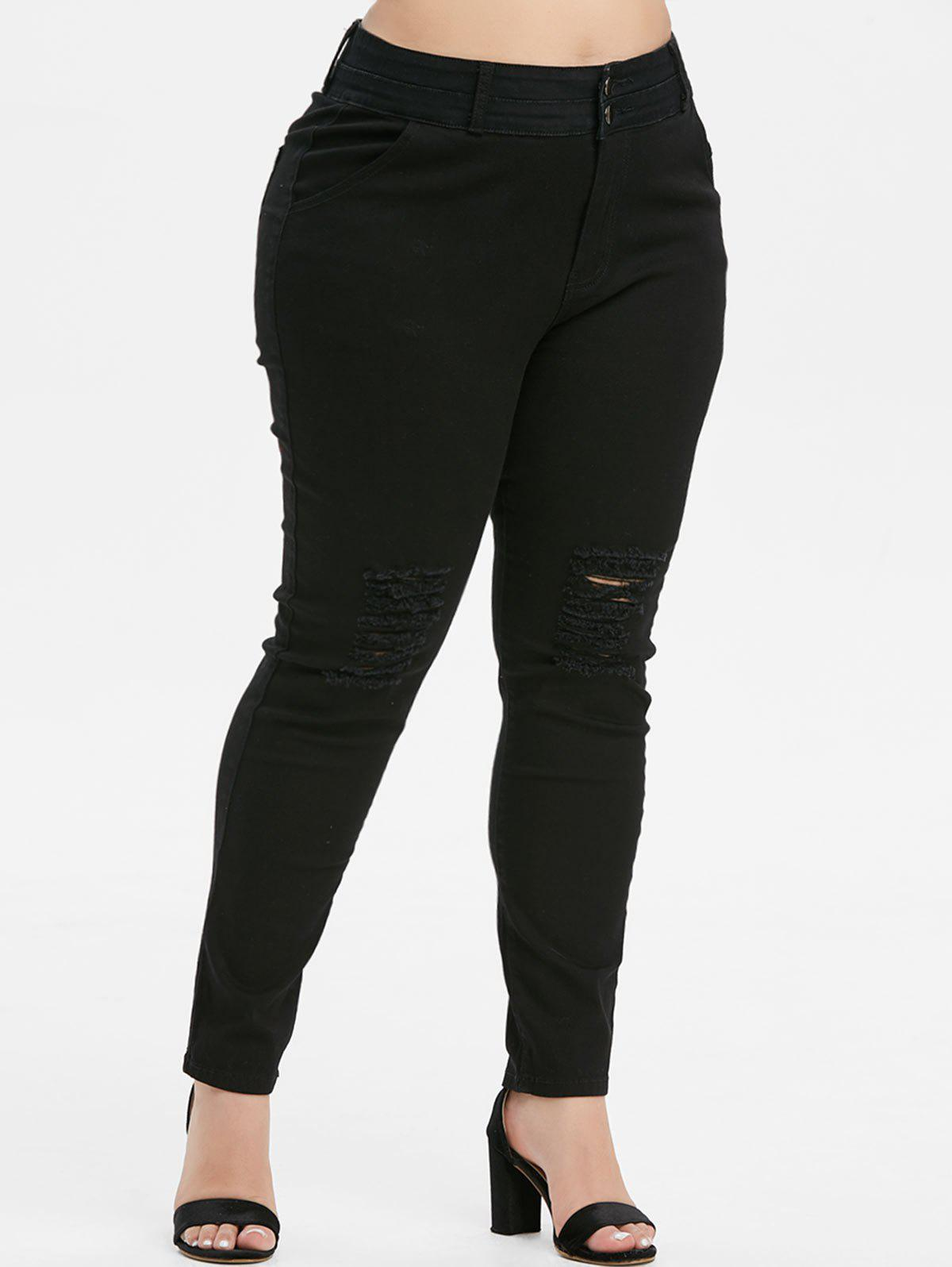 Affordable Plus Size High Waisted Ripped Skinny Jeans
