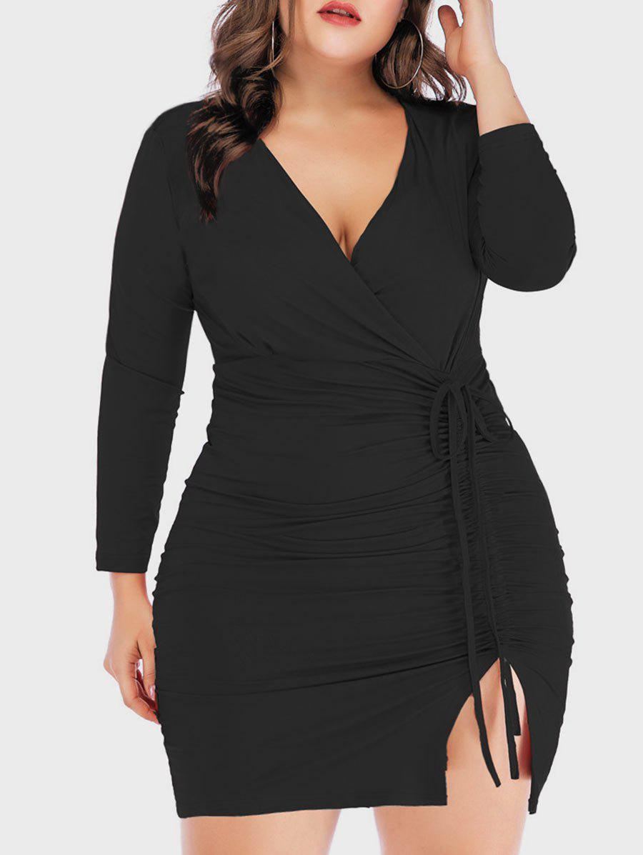 Long Sleeve Cinched Slit Surplice Plus Size Bodycon Dress