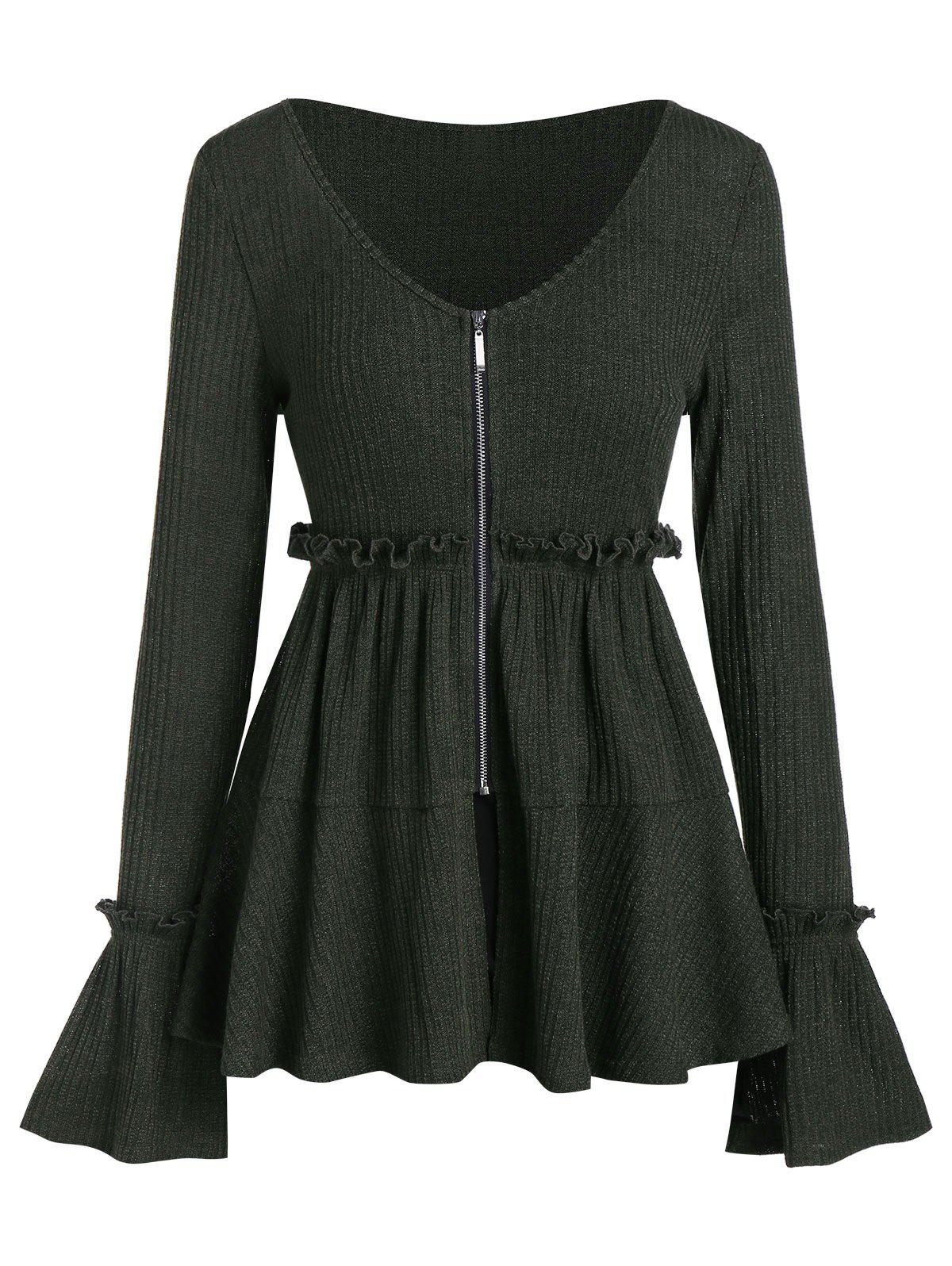 Cheap Front Zip Bell Sleeve Ruffled Peplum Knitwear