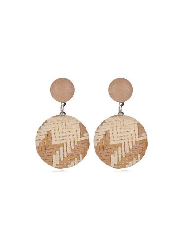 Outfit Bohemian Straw Woven Round Button Earrings