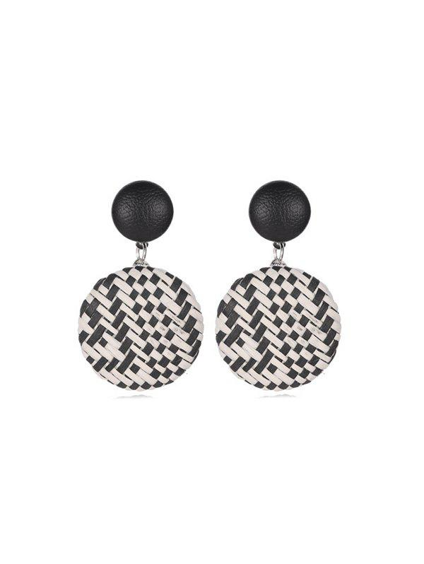 Buy Bohemian Straw Woven Round Button Earrings