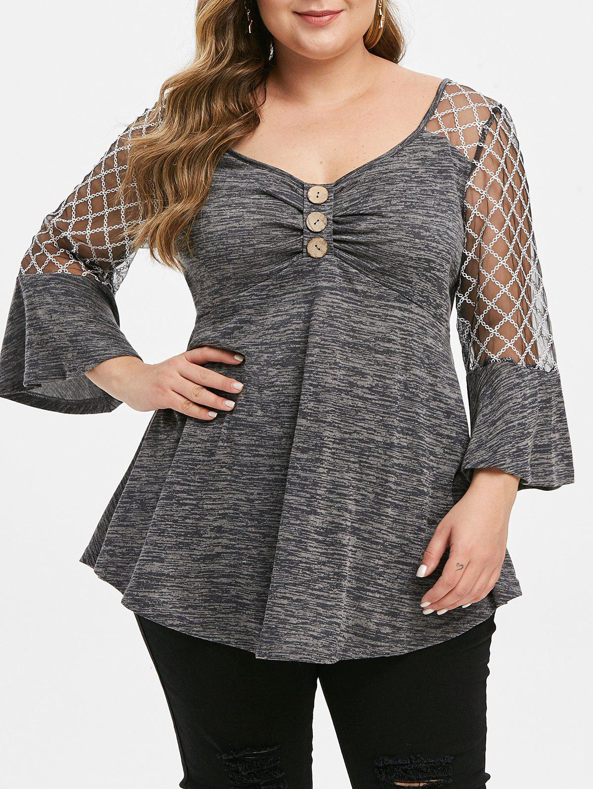 Outfits Buttoned Lace Panel Space Dye Plus Size Top