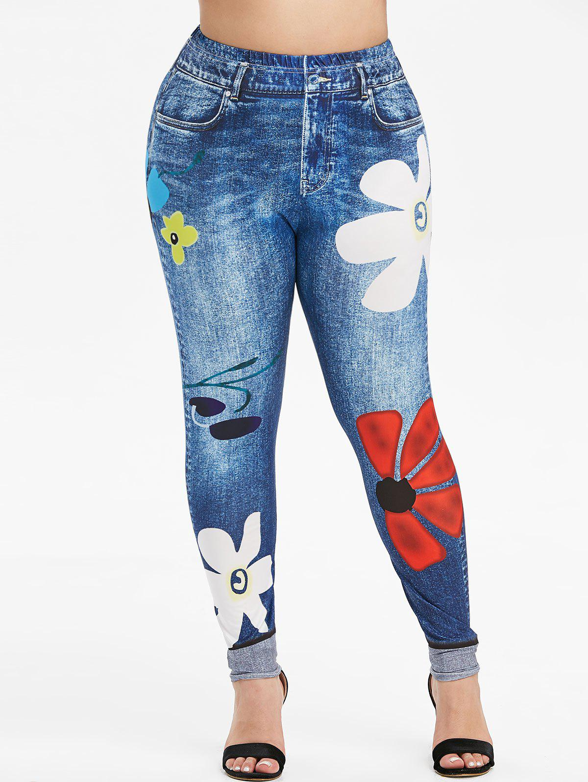 New Plus Size Skinny Floral 3D Jeggings