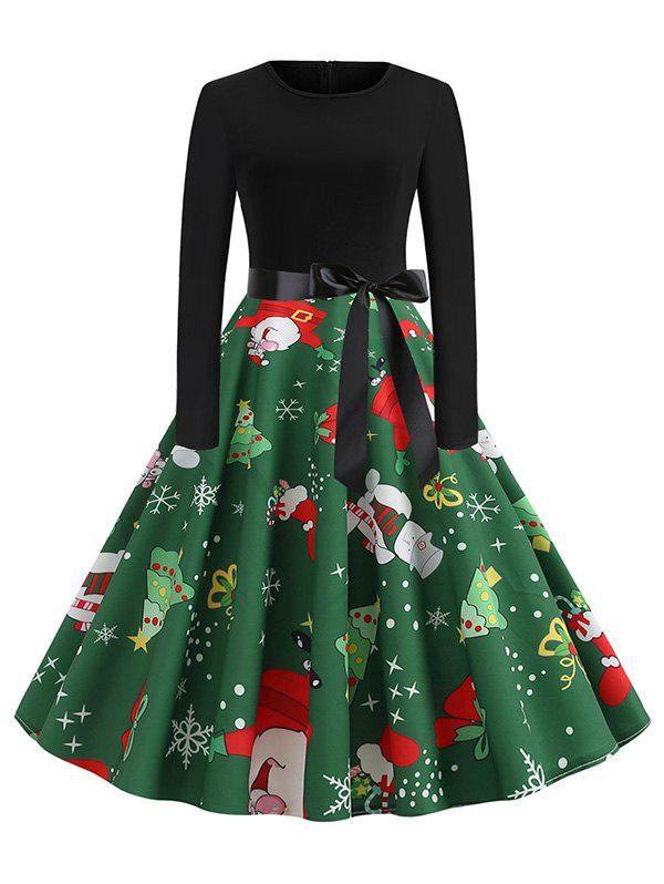 Online Christmas Tree Snowflake Belted Long Sleeve Dress