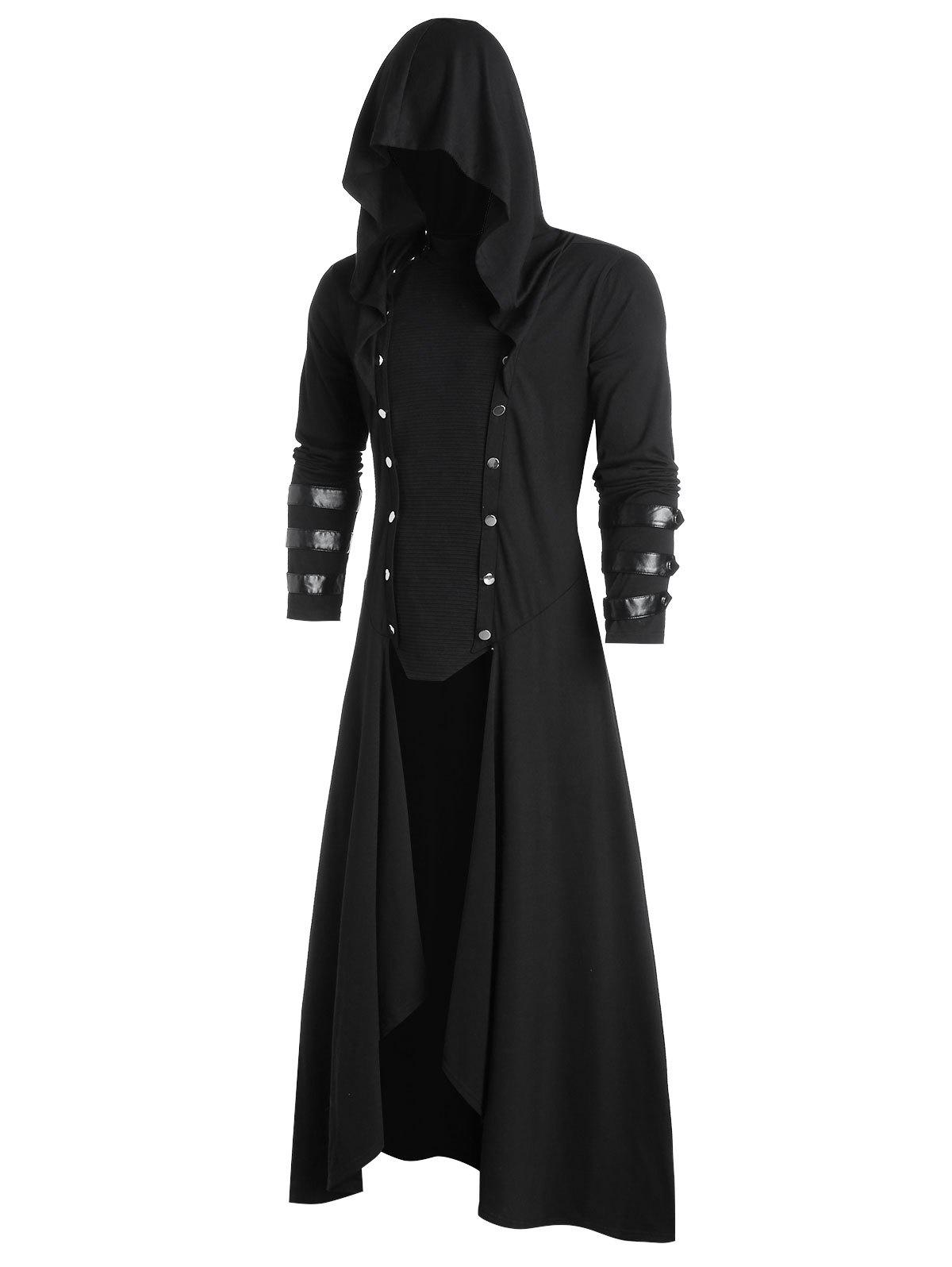 Discount Faux Leather Insert Button Up High Low Hoodie