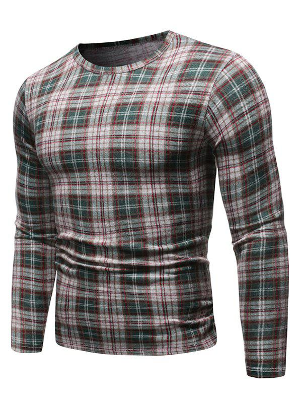 Fancy Plaid Pattern Casual Pullover Sweater