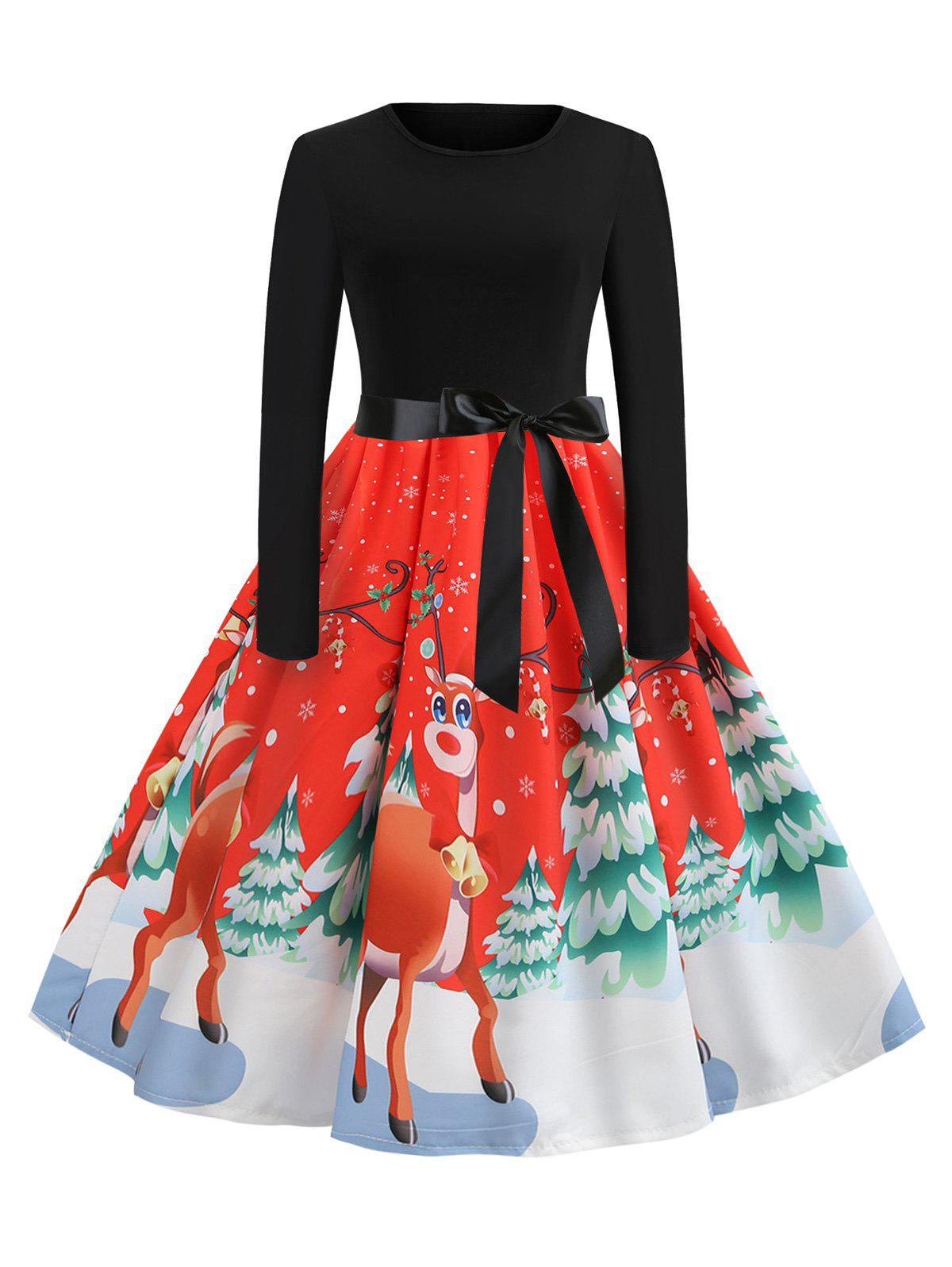 Outfit Christmas Tree Elk Print Belted Long Sleeve Dress