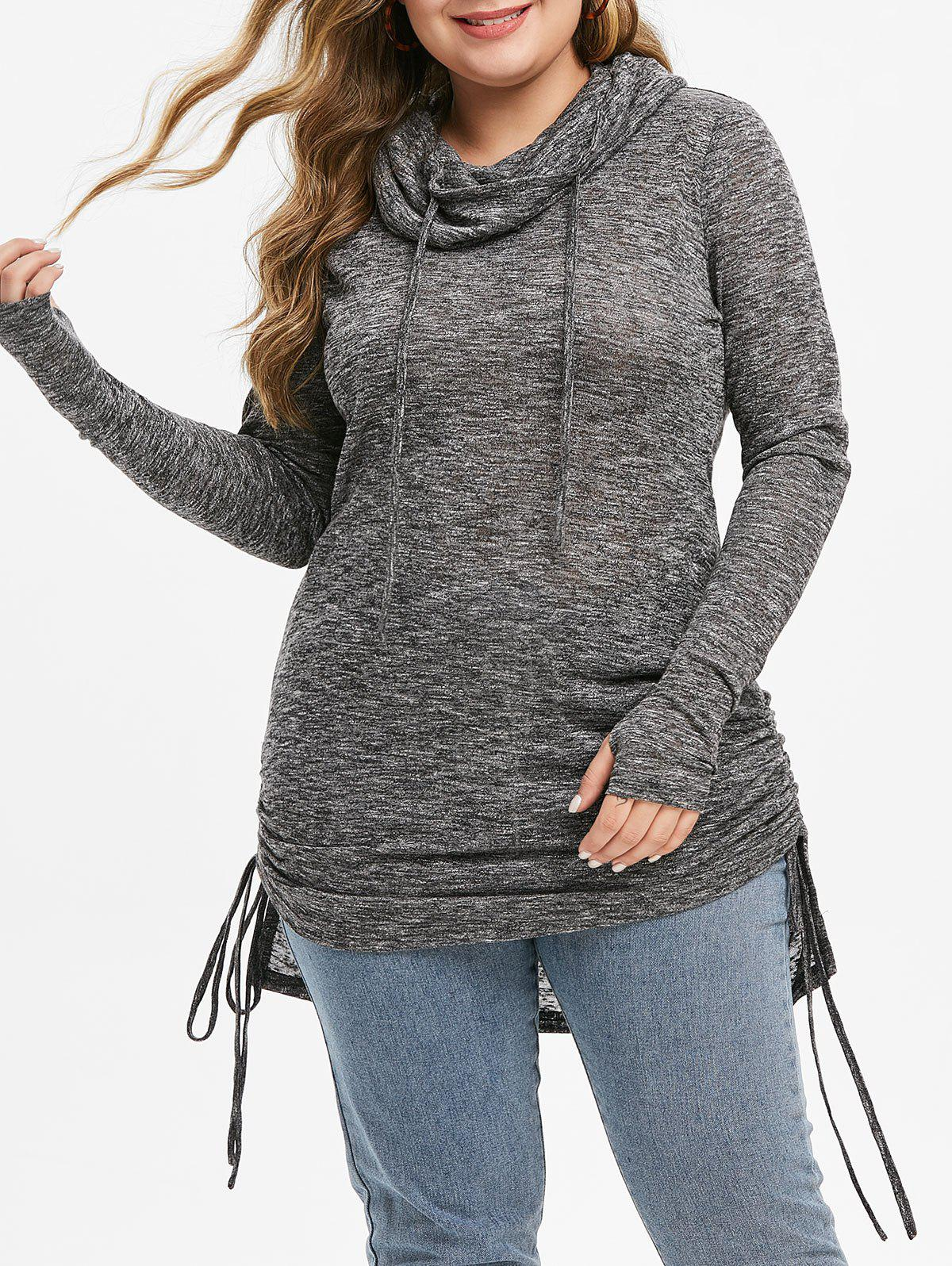 Plus Size Cowl Neck Cinched High Low Marled Knitwear фото