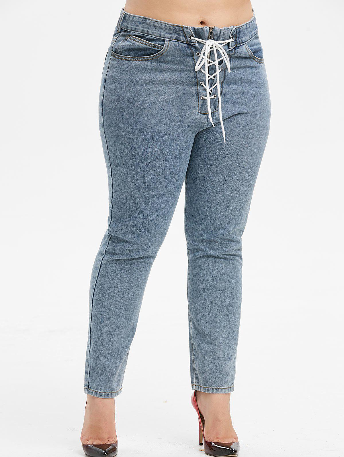 Fancy Plus Size High Waisted Lace Up Jeans