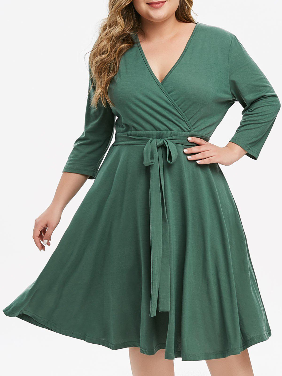 Best Tie Waist Solid Plus Size Surplice Dress