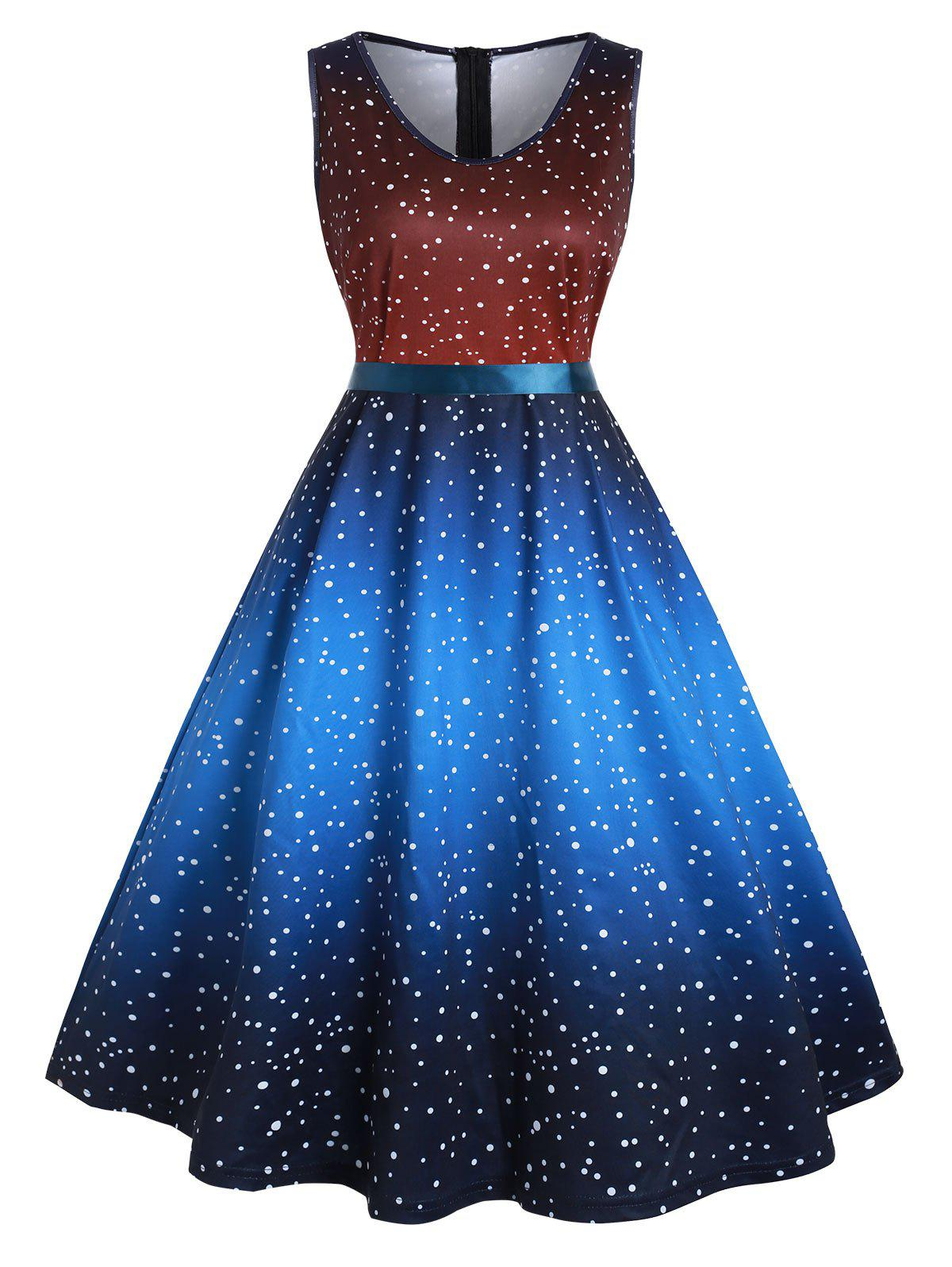 Plus Size Vintage Polka Dot Ombre Swing Dress