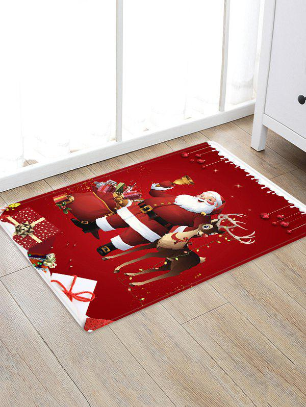 Fashion Christmas Santa Claus Deer Pattern Print Flannel Floor Mat