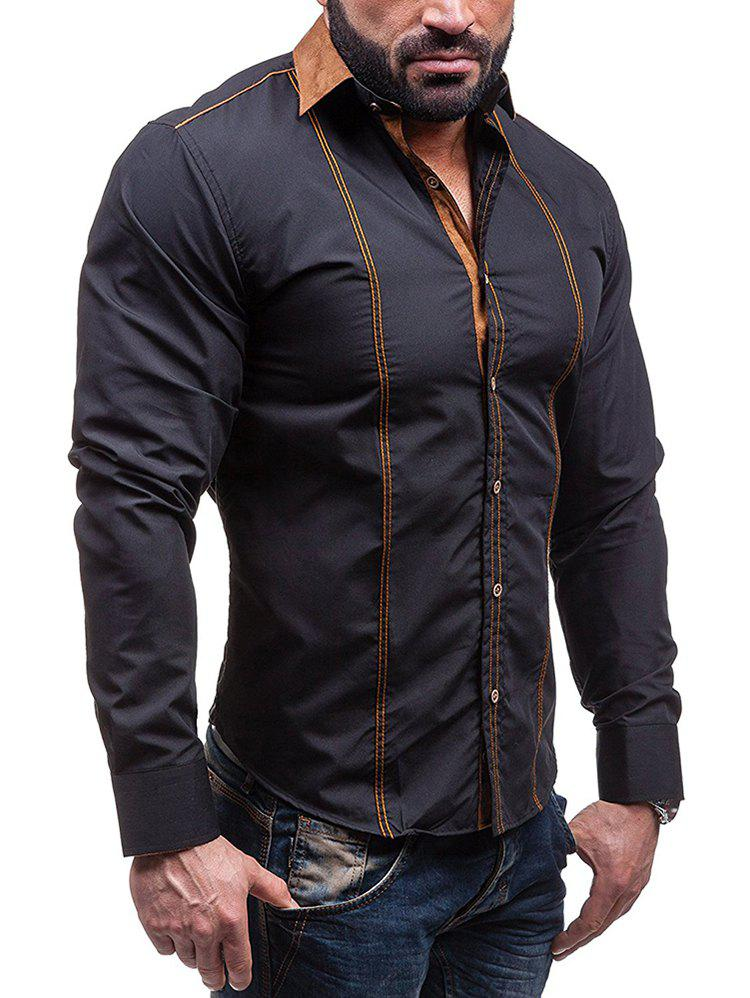 Shops Faux Suede Collar Button Up Long Sleeve Shirt
