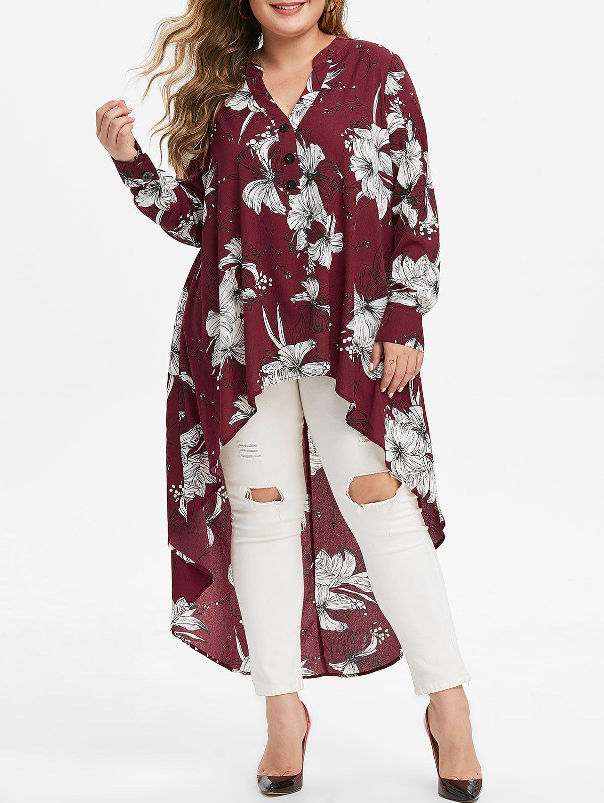 Hot Plus Size Floral Print High Low Long Blouse