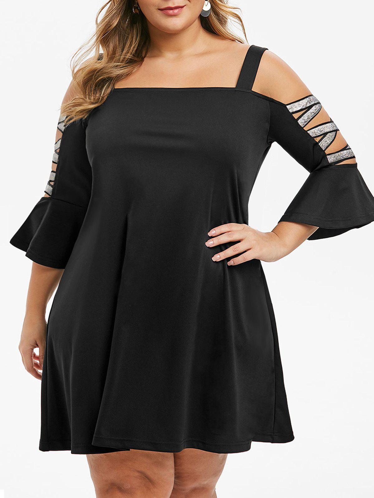 Trendy Metallic Threads Glittery Cold Shoulder Plus Size Dress