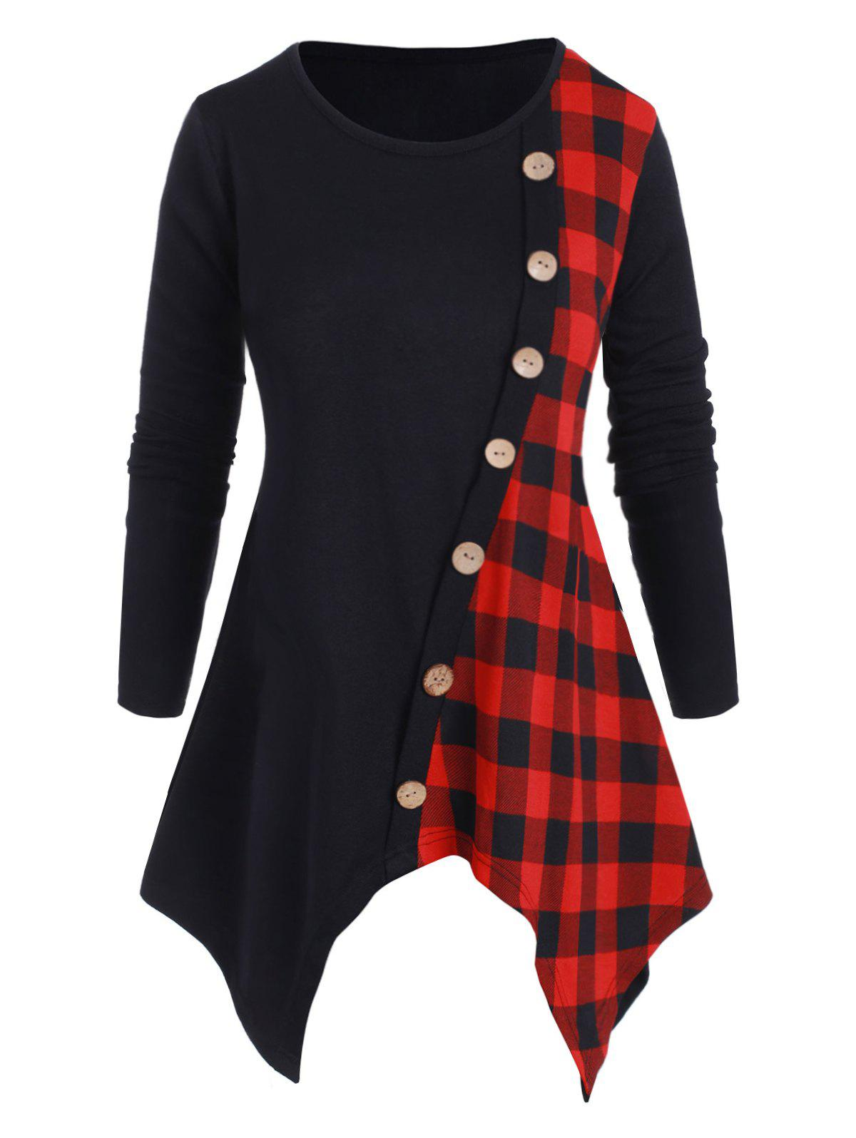Outfits Plaid Panel Mock Buttons Handkerchief Plus Size Knitwear