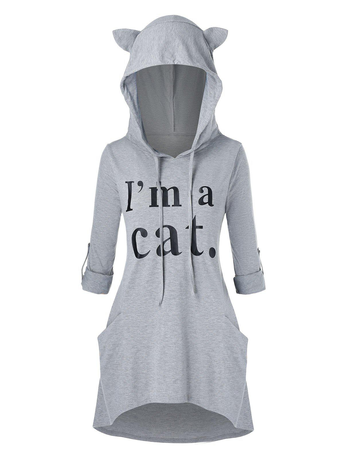 Shops Plus Size Cat Ear Roll Up Sleeve High Low Graphic Hoodie