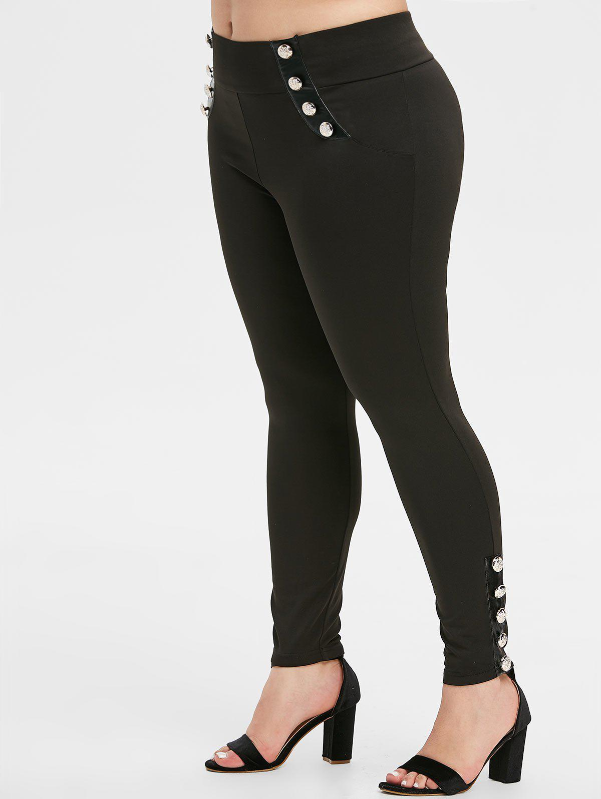 Shops Plus Size High Rise Buttoned Skinny Pants