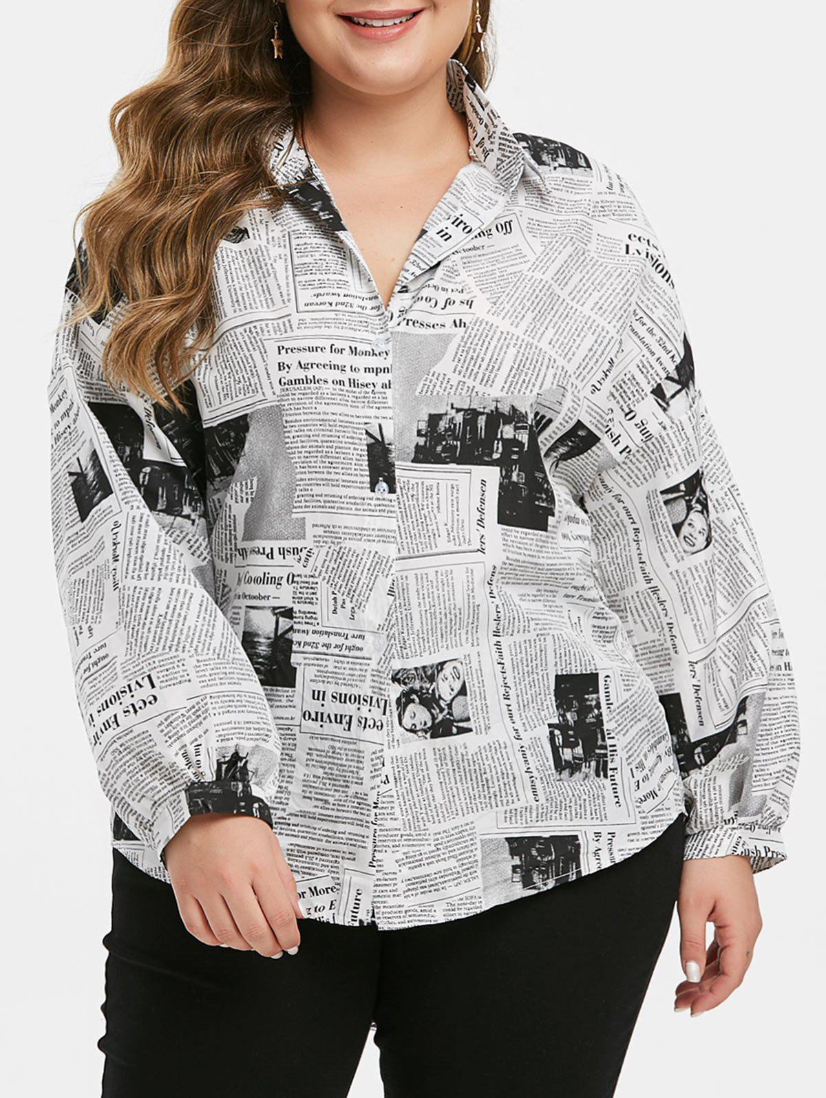 Outfits Plus Size Lantern Sleeve Newspaper Print Shirt