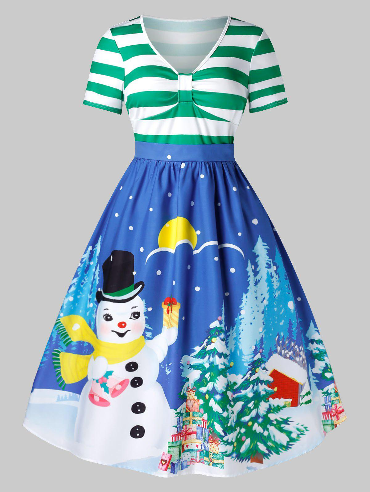 Buy Plus Size Christmas Vintage Printed Party Dress