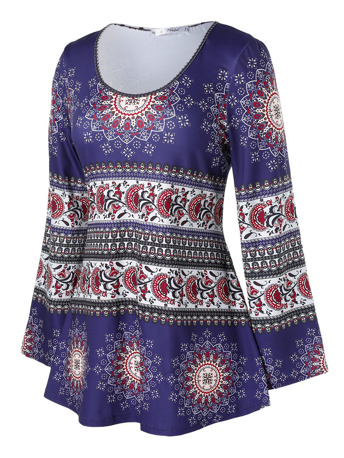 Affordable Plus Size Ethnic Print Bell Sleeve T Shirt
