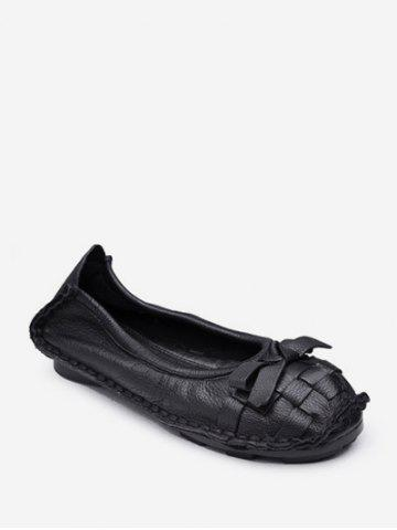 Braid Round Toe Bowknot Slip On Flat Shoes - BLACK - EU 38