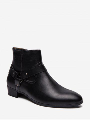 Pointed Toe Side Zip Boots - BLACK - EU 41