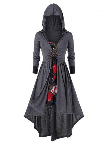 Plus Size Flower Cami Dress and Hooded Asymmetric Coat Set