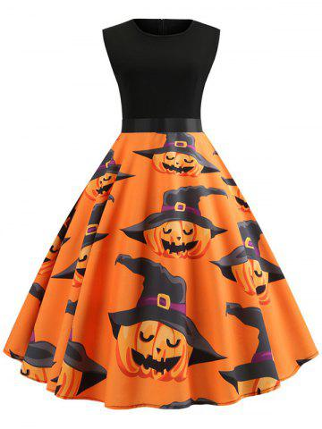 Pumpkin Print Belted Halloween A Line Dress