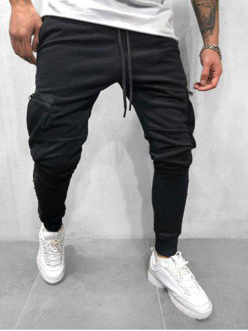 Solid Side Zipper Plocket Drawstring Sport Jogger Pants