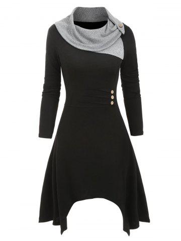 Cowl Neck Mock Button Knitted Midi Dress