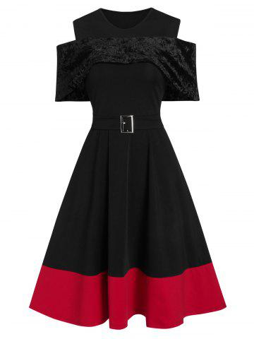 Open Shoulder Two Tone Fit And Flare Dress