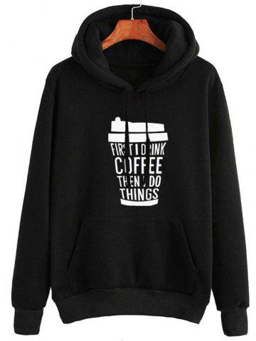 Plus Size Drawstring Coffee Print Graphic Hoodie - from $22.99