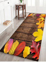 Maple Leaf Wooden Printed Floor Rug -
