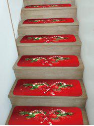 Christmas Candy Cane Pattern Stair Tread Rugs Set -