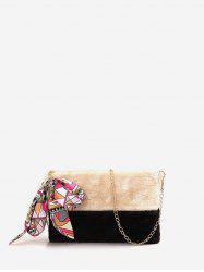 Ribbon Decorated Fuzzy Crossbody Chain Bag -