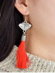 Butterfly Carved Tassel Decorated Dangle Earrings -