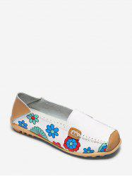 Floral Print Slip On PU Leather Flat Shoes -