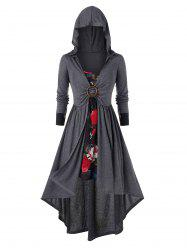 Plus Size Flower Cami Dress and Hooded Asymmetric Coat Set -