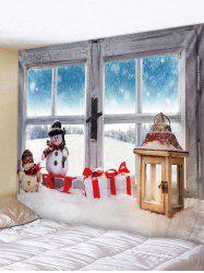 Christmas Snowman Window Pattern Tapestry -