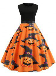 Pumpkin Print Belted Halloween A Line Dress -