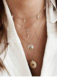 Cross Star Disc Multi-layer Chain Necklace -